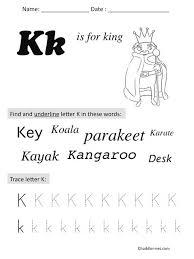 free printable letter k preschool worksheet