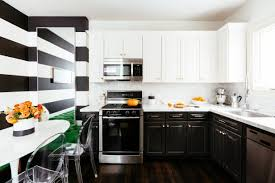 black walls white kitchen cabinets contemporary kitchen with black and white accent wall noz