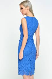 corn flower blue marc angelo v neck lace dress in cornflower blue iclothing