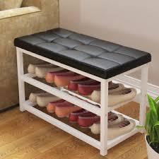 shoe storage ottoman bench shoe rack ottoman bench black pu leather metal storage shelf