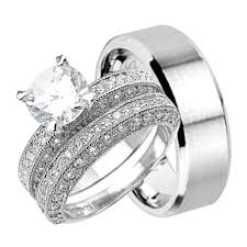 trio wedding sets his stainless steel hers sterling silver trio wedding set for