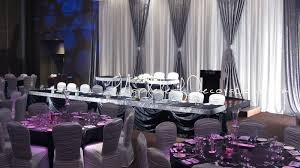 wedding venue backdrop mapleleaf decorations sparkly bling pewter silver wedding