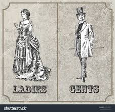 victorian lady gentleman toilet sign vector stock vector 612142457