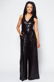 black sequin jumpsuit black sequin cross back jumpsuit