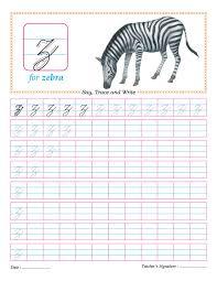 cursive small letter z practice worksheet arni alphabet