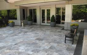 grey travertine tile exterior traditional with pattern