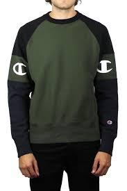 champion reverse weave raglan sweatshirt olive black thirtysix