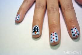 a u0027borrowed and blue u0027 christmas tree nail design