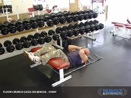 Dumbbell Exercises On Bench Floor Crunch Legs On Bench Video Exercise Guide U0026 Tips