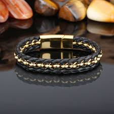 stainless steel black bracelet images New hot style fashion men 39 s simple leather braid bracelet jpg