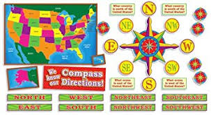 map of usa with compass amazon com u s map and compass directions bulletin board