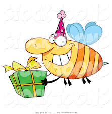 stock cartoon of a happy birthday bee by hit toon 94