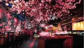 cherry blossom trees in a basement bar s beautiful pop up