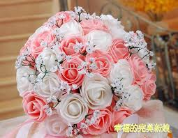 wedding flowers pink beautiful wedding bouquet artificial 30 flowers pink bridal