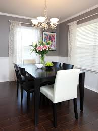 Black Dining Room Chairs Chair Rail Molding Divides Two Toned Walls In This Neutral Dining