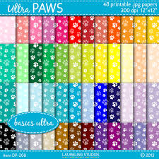 paw print tissue paper paw print digital paper in 48 colors dog paw by laurelingstudios