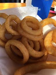 Hot dog and onion rings Picture of The Barking Dog Hampton