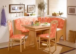 lovely breakfast nook design with pink bench seating and cool