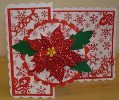 x016 hand made christmas card with poppystamps blooming poinsetta