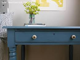 a smokey blue writing desk the weathered door