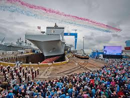 hms queen elizabeth aircraft carrier sets sail for sea trials