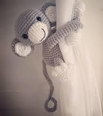 Curtain Tie Backs For Nursery Gray Monkey Curtain Tie Back Nursery Crochet By Niceandcosee
