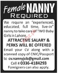 female nanny job opportunity 2017 jobs pakistan jobz pk
