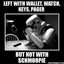 Pager Meme - left with wallet watch keys pager but not with schmoopie meme