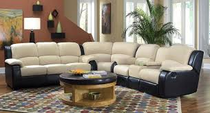 Two Tone Reclining Sofa Yb126 Microfiber Two Tone Sectional Recliner Cupholders Microfiber