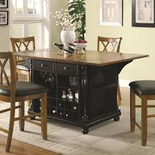 dining room cart carts two tone kitchen island black with drop leaves