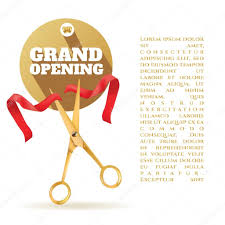 Invitation Card For Grand Opening Golden Scissors Cut The Red Ribbon The Symbol Of The Grand