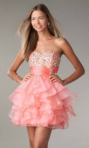 short coral prom dress dressed up