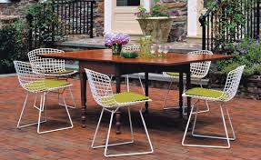 Wire Patio Chairs Bertoia Side Chair With Seat Cushion Hivemodern Com