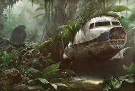 jonathan wateridge jungle scene plane wreck contemporary art