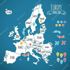 World Map With Pins by Hand Drawn Europe Travel Map With Pins Vector Illustration U2014 Stock