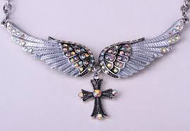 jewelry wings necklace images Angel wing cross necklace women biker jewelry w crystal jpg