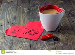 ps i love you with tea on wooden table stock photo image 66352490