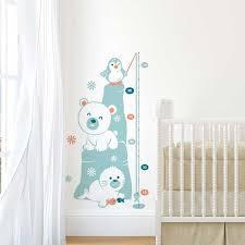 autocollant chambre bébé sticker mural toise banquise motif bébé garçon pour chambre bébé