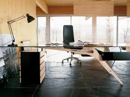 Modern Home Office Desks Office Desk Furniture Glass Top With Wooden Bases Large Modern
