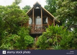 wooden log cabin beautiful wooden log cabin near chiang mai thailand stock photo