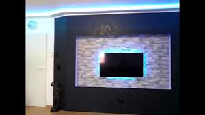Wall Units For Televisions Tv Beamer Wall With Led Lighting Diy Youtube