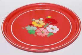 painted serving platters vintage ransburg metal serving tray w painted flowers on