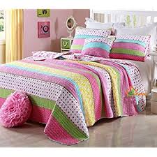 Twin Size Bed For Girls Amazon Com Girls Pink And Pastels Cotton Quilt Set Twin Home
