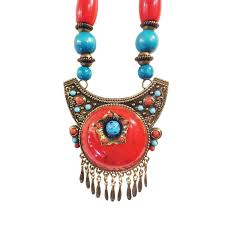 vintage blue stone necklace images Vintage ethnic style red and blue beads big pendant necklace stone jpg