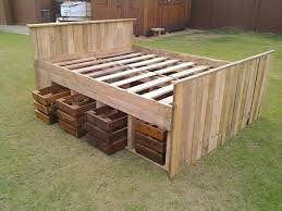 Bed Frame Made From Pallets Pallet Bed Frame 2 With Drawers Beneath The Base Founterior