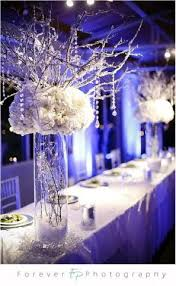 winter wedding with frosted branches centerpieces vibrantbride com