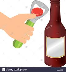beer bottle cartoon bottle opener utensil kitchen with beer bottle glass vector stock