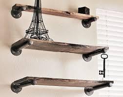 Rustic Wood Bookshelves by Set Of 3 Industrial Shelving Industrial Bookcase Industrial