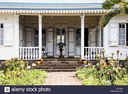 french colonial house in st denis reunion island stock photo