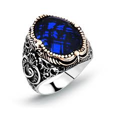 blue men rings images Blue zircon classic silver men ring boutique ottoman jewelry store jpg